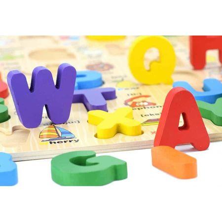 Puzzle lemn 3D Alfabetul cu litere mari și imagini [2]