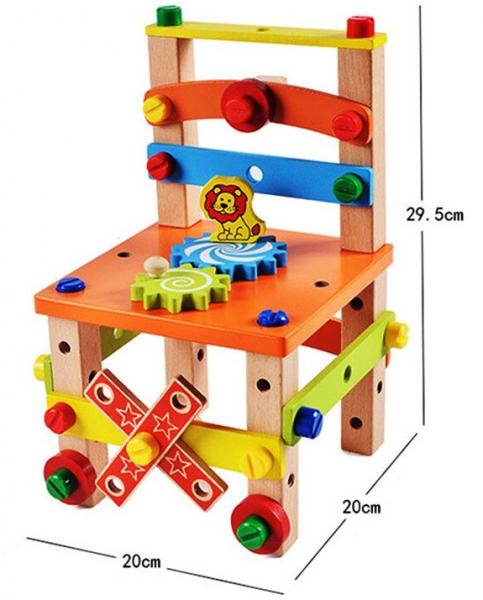 Jucarie din lemn SCAUN TAMPLAR - Joc de Constructii 6