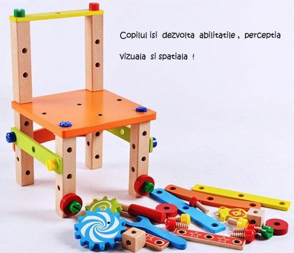 Jucarie din lemn SCAUN TAMPLAR - Joc de Constructii 5