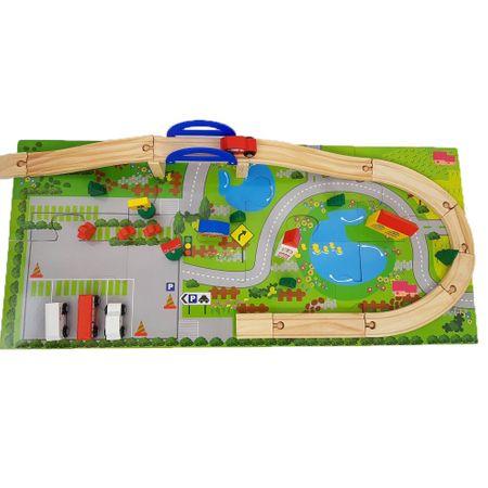 Set Circuit din lemn, cu mașinuțe și șine (40 piese) [3]