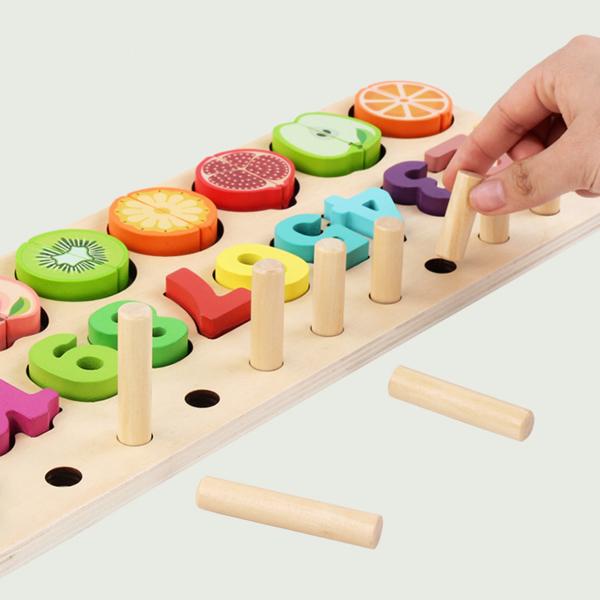 Puzzle educativ lemn sortare-operatii matematice si fructe 9