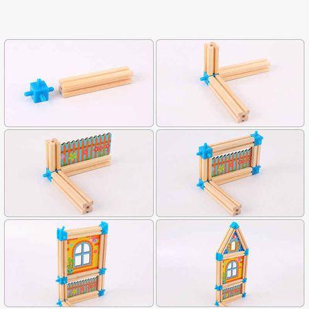 """Set de 128 de piese de construit din lemn natural pentru copii, """"Micul Arhitect"""" [4]"""