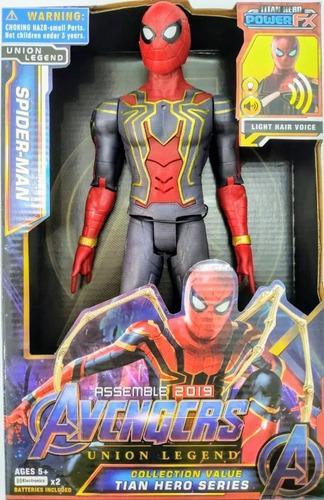 Figurina erou tip Avengers Marvel, Spiderman, culoare rosu, articulatii flexibile, iluminare led, dimensiune 30 cm 0