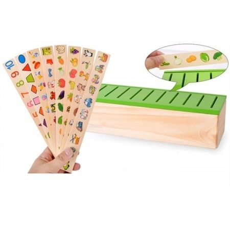 Joc interactiv și educativ de tip Montessori de asociere și sortare cu 88 piese, sortator din lemn 5