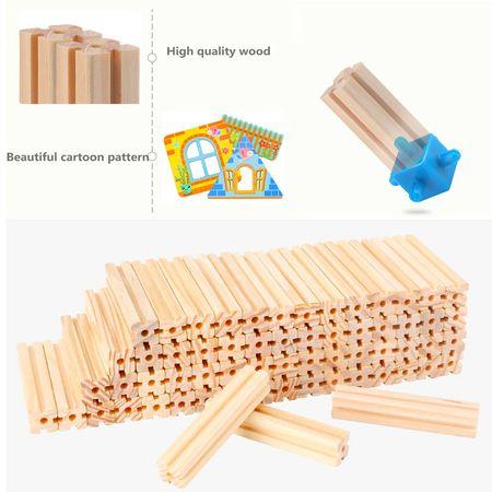 """Set de 128 de piese de construit din lemn natural pentru copii, """"Micul Arhitect"""" [5]"""