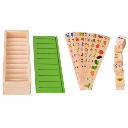 Joc interactiv și educativ de tip Montessori de asociere și sortare cu 88 piese, sortator din lemn 6
