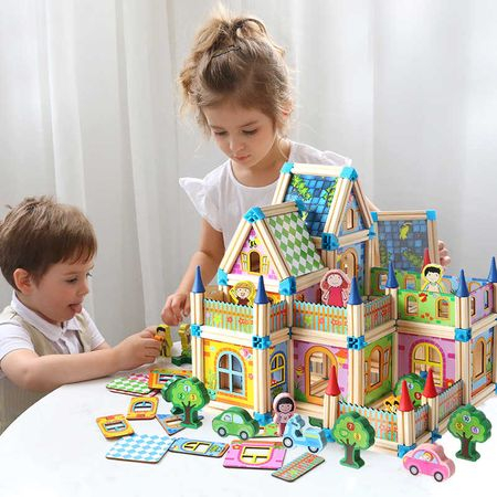 """Set de 128 de piese de construit din lemn natural pentru copii, """"Micul Arhitect"""" [6]"""