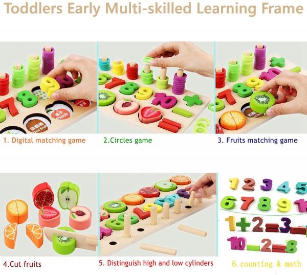 Puzzle educativ lemn sortare-operatii matematice si fructe 7