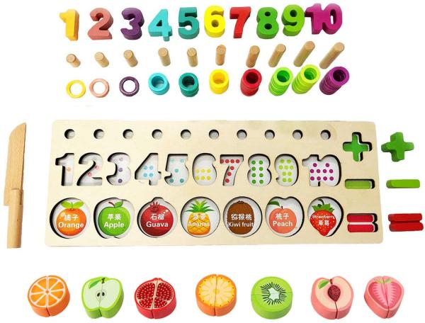 Puzzle educativ lemn sortare-operatii matematice si fructe 8