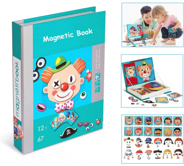 Carte magnetica Puzzle - Crazy Faces 12 planse 0