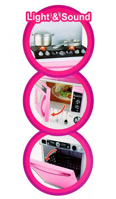Set bucătărie pentru păpuși Kappy Kitchen cu efecte sonore și luminoase, 34 cm inaltime (Roz) [2]