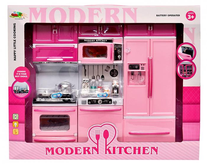 Set bucătărie pentru păpuși Kappy Kitchen cu efecte sonore și luminoase, 34 cm inaltime (Roz) [3]