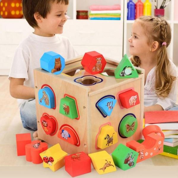 Cub educativ Montessori din lemn 5 în 1 cu activități și sortare forme geometrice 0