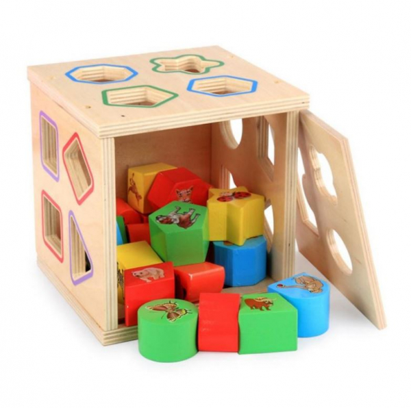 Cub educativ Montessori din lemn 5 în 1 cu activități și sortare forme geometrice 2