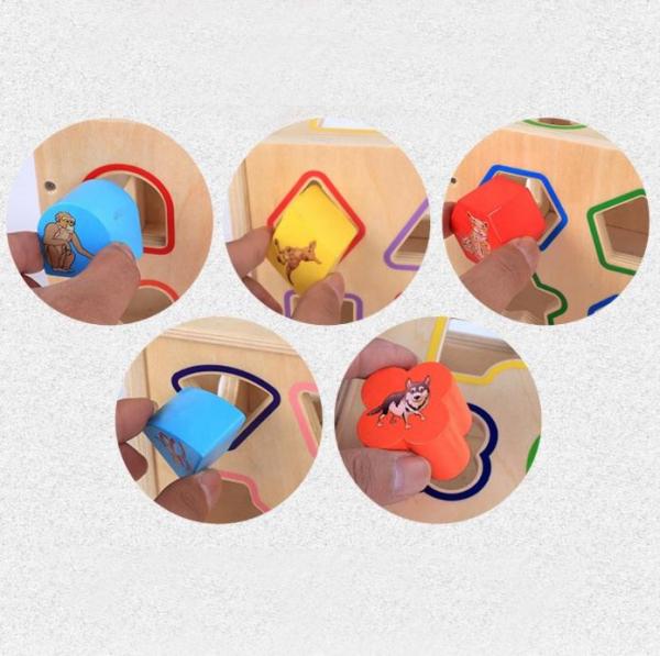 Cub educativ Montessori din lemn 5 în 1 cu activități și sortare forme geometrice 5