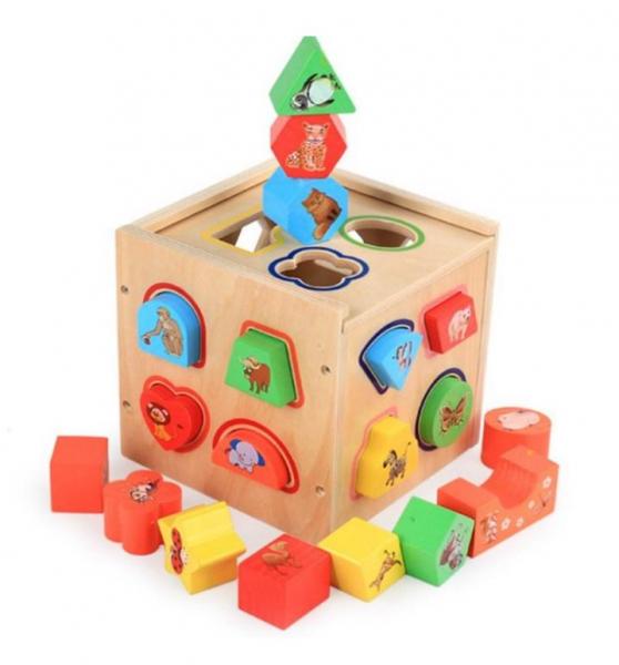 Cub educativ Montessori din lemn 5 în 1 cu activități și sortare forme geometrice 4