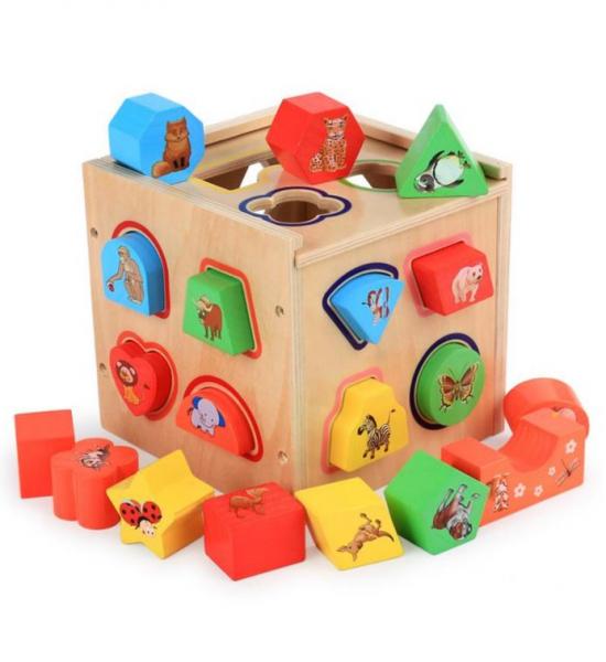 Cub educativ Montessori din lemn 5 în 1 cu activități și sortare forme geometrice 1