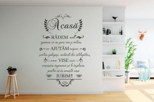 "Sticker decorativ ""Acasa radem mult"" 1"