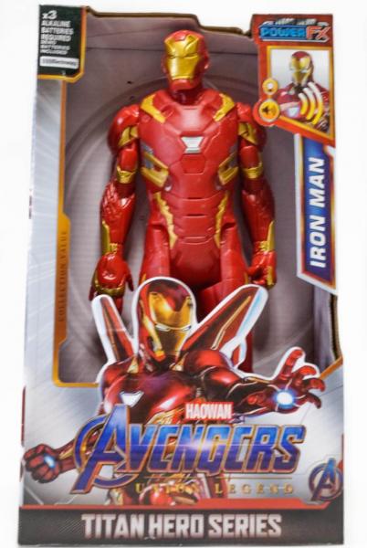 Figurina erou tip Avengers Marvel, Iron Man, culoare rosu, articulatii flexibile, iluminare led, 30 cm 0