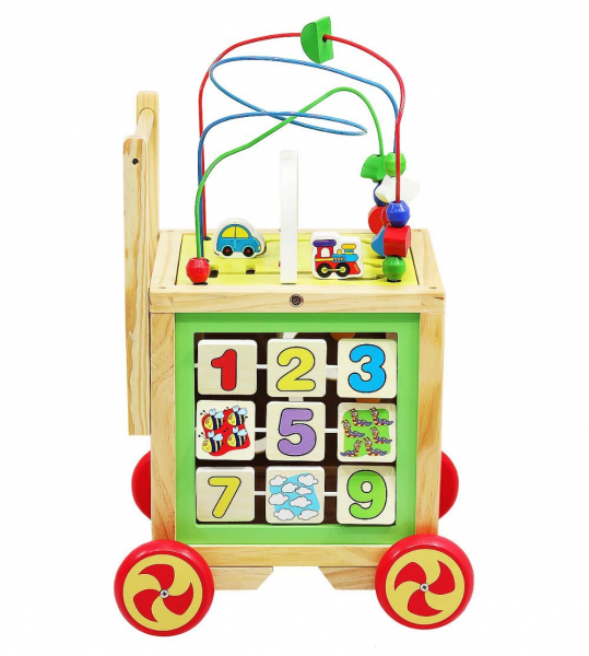 Cub educativ 6 in 1- antepremergator lemn cu activitati [3]