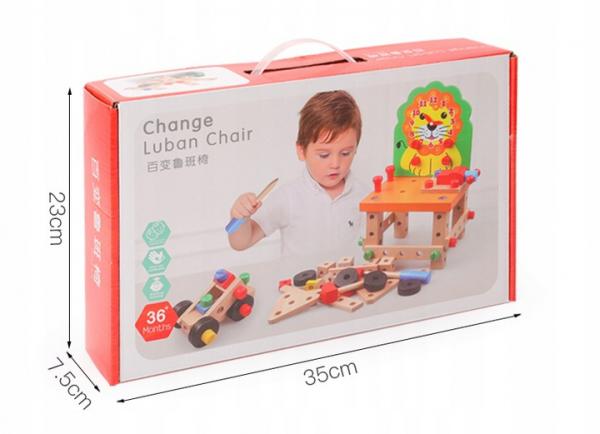Banc de lucru din lemn cu accesorii Scaun cu ceas Leu - Ansambleaza scaunelul Leu 7