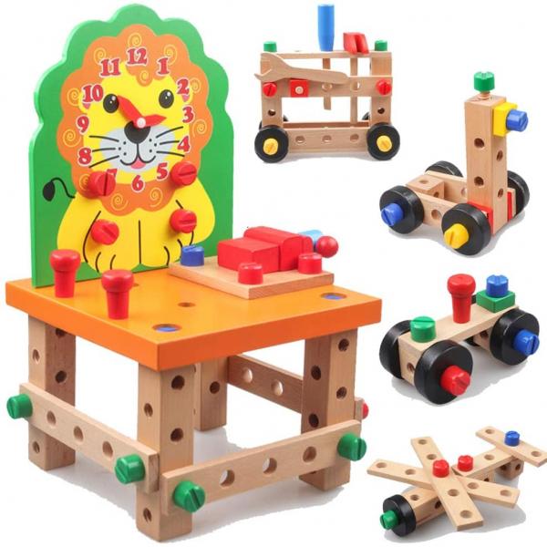 Banc de lucru din lemn cu accesorii Scaun cu ceas Leu - Ansambleaza scaunelul Leu 1