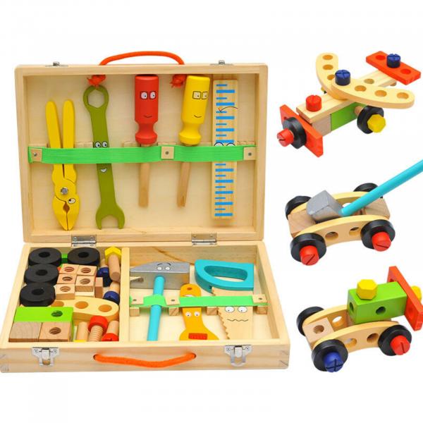 Banc de lucru - set trusa de scule din lemn cu accesorii pentru copii 0
