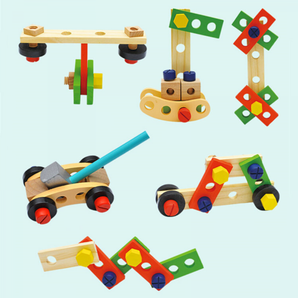 Banc de lucru - set trusa de scule din lemn cu accesorii pentru copii 5