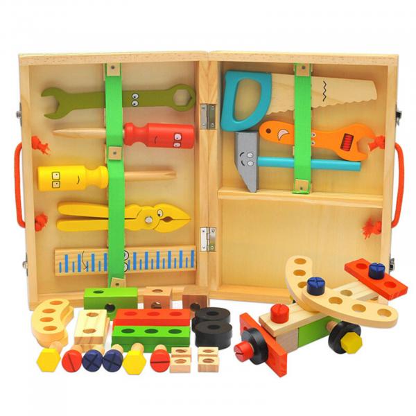 Banc de lucru - set trusa de scule din lemn cu accesorii pentru copii 1