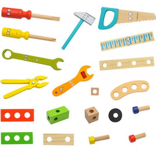 Banc de lucru - set trusa de scule din lemn cu accesorii pentru copii 2