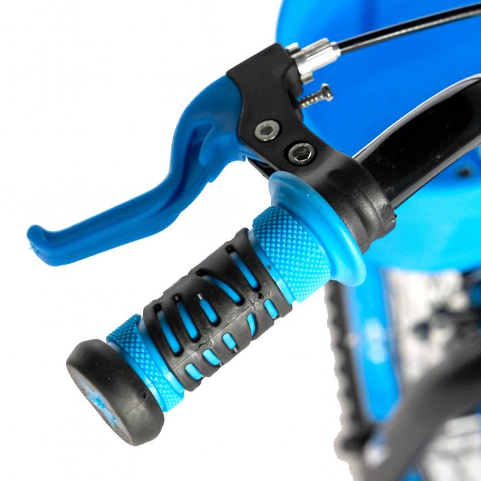 Bicicleta Baieti 7-10 Ani, Roti 20 Inch, Frane C-Brake, Roti Ajutatoare, Rich Baby CST20/02C, Cadru Negru cu Design Albastru [6]