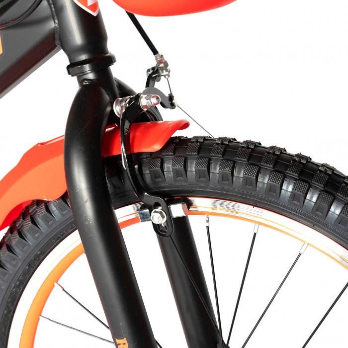 Bicicleta Baieti 7-10 Ani, Roti 20 Inch, Frane C-Brake, Roti Ajutatoare, Rich Baby CST20/02C, Cadru Negru cu Design Portocaliu [4]