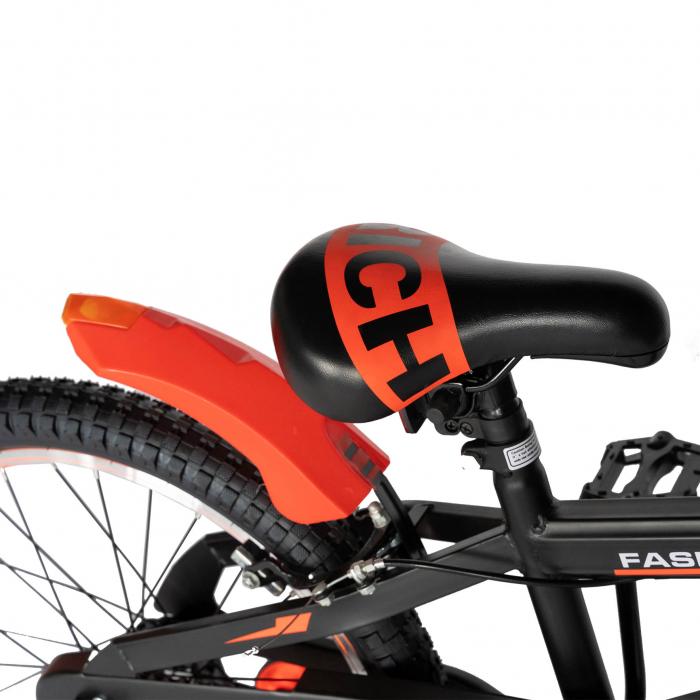 Bicicleta Baieti 7-10 Ani, Roti 20 Inch, Frane C-Brake, Roti Ajutatoare, Rich Baby CST20/02C, Cadru Negru cu Design Portocaliu [1]