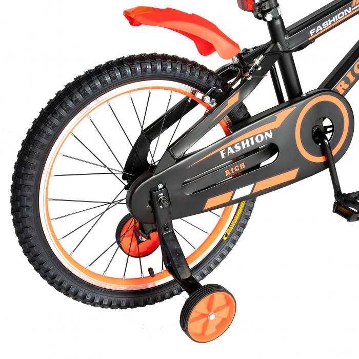Bicicleta Baieti 7-10 Ani, Roti 20 Inch, Frane C-Brake, Roti Ajutatoare, Rich Baby CST20/02C, Cadru Negru cu Design Portocaliu [3]