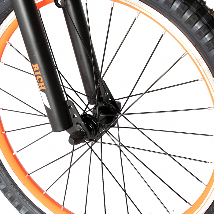 Bicicleta Baieti 7-10 Ani, Roti 20 Inch, Frane C-Brake, Roti Ajutatoare, Rich Baby CST20/02C, Cadru Negru cu Design Portocaliu [5]