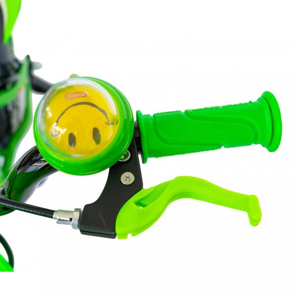 "Bicicleta baieti Rich Baby R1407A, roata 14"", C-Brake, roti ajutatoare cu LED, 3-5 ani, verde/alb  8"