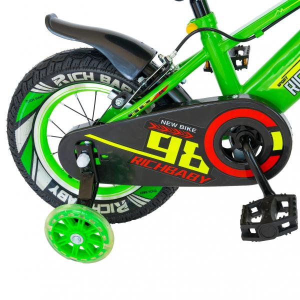 "Bicicleta baieti Rich Baby R1407A, roata 14"", C-Brake, roti ajutatoare cu LED, 3-5 ani, verde/alb  1"