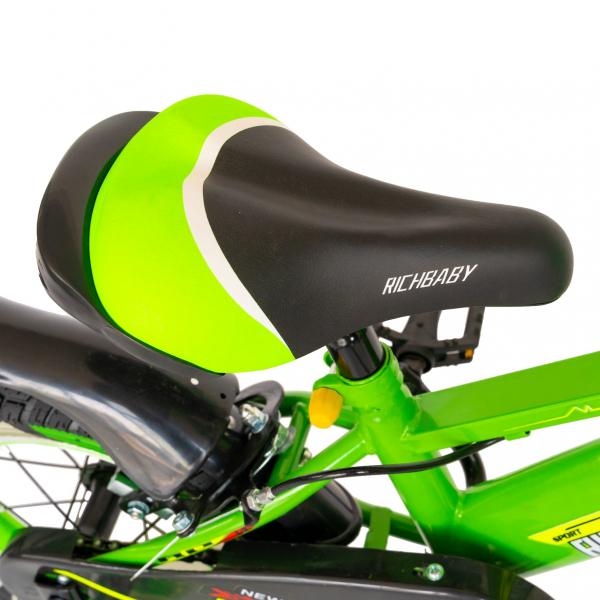 "Bicicleta baieti Rich Baby R1407A, roata 14"", C-Brake, roti ajutatoare cu LED, 3-5 ani, verde/alb  4"