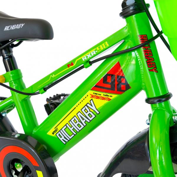 "Bicicleta baieti Rich Baby R1407A, roata 14"", C-Brake, roti ajutatoare cu LED, 3-5 ani, verde/alb  2"