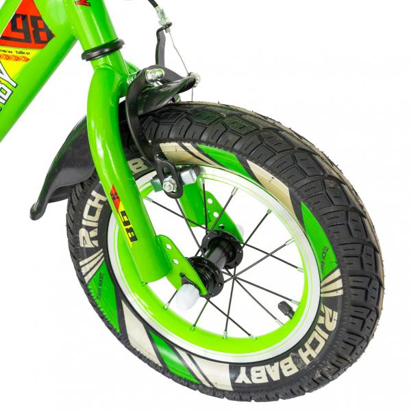 "Bicicleta baieti Rich Baby R1407A, roata 14"", C-Brake, roti ajutatoare cu LED, 3-5 ani, verde/alb  6"