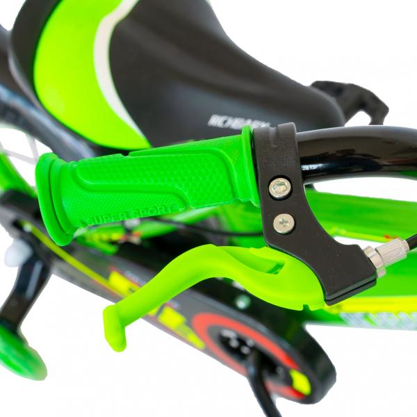 "Bicicleta baieti Rich Baby R1407A, roata 14"", C-Brake, roti ajutatoare cu LED, 3-5 ani, verde/alb  7"