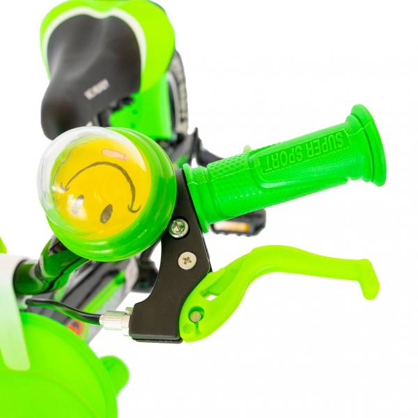 """Bicicleta baieti Rich Baby R1407A, roata 14"""", C-Brake, roti ajutatoare cu LED, 3-5 ani, negru/verde 2"""