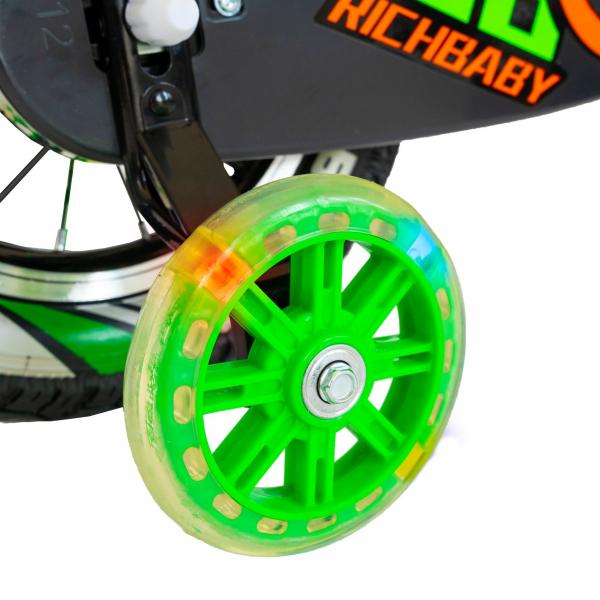 """Bicicleta baieti Rich Baby R1407A, roata 14"""", C-Brake, roti ajutatoare cu LED, 3-5 ani, negru/verde 1"""