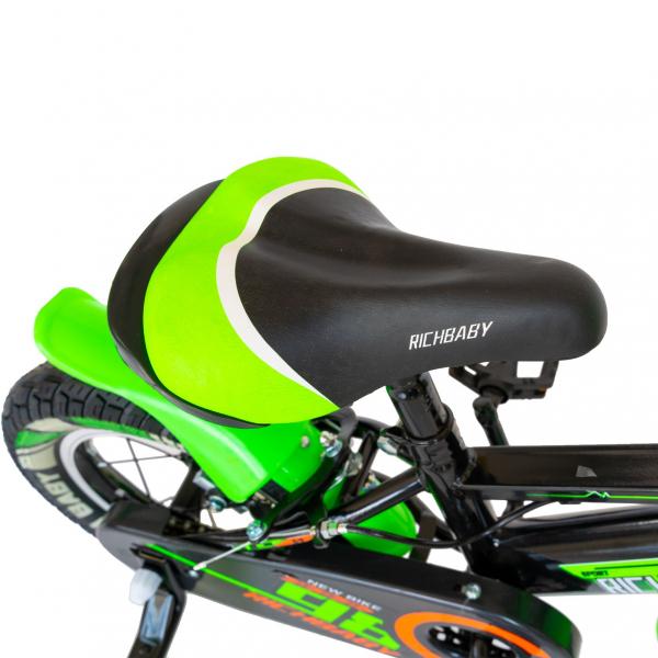 """Bicicleta baieti Rich Baby R1407A, roata 14"""", C-Brake, roti ajutatoare cu LED, 3-5 ani, negru/verde 6"""