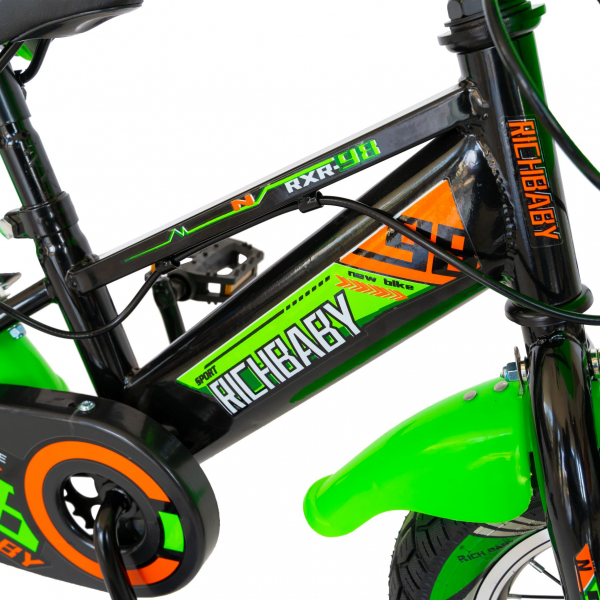 """Bicicleta baieti Rich Baby R1407A, roata 14"""", C-Brake, roti ajutatoare cu LED, 3-5 ani, negru/verde 5"""