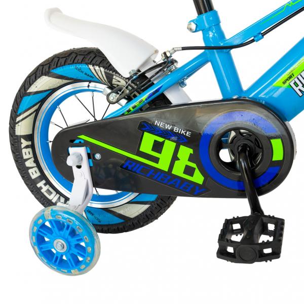 """Bicicleta baieti Rich Baby R1407A, roata 14"""", C-Brake, roti ajutatoare cu LED, 3-5 ani, albastru/verde 8"""