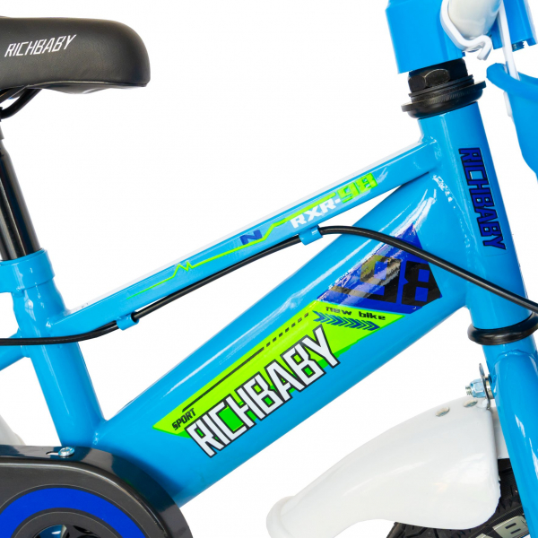 """Bicicleta baieti Rich Baby R1407A, roata 14"""", C-Brake, roti ajutatoare cu LED, 3-5 ani, albastru/verde 9"""