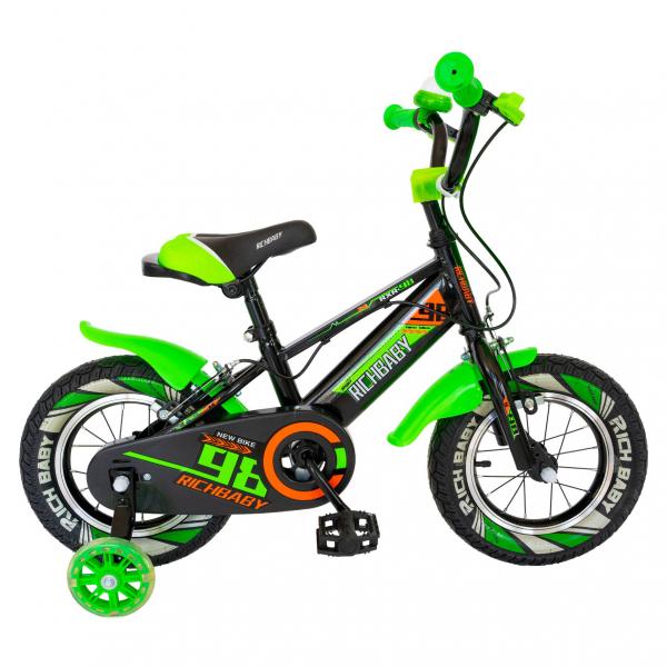 """Bicicleta baieti Rich Baby R1407A, roata 14"""", C-Brake, roti ajutatoare cu LED, 3-5 ani, negru/verde 0"""