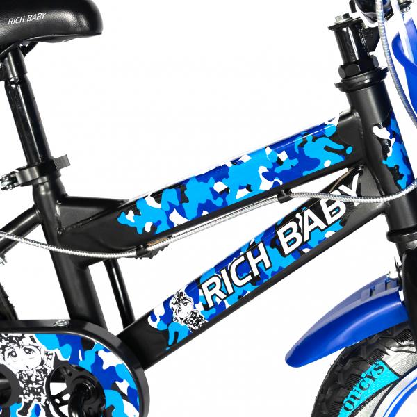 "Bicicleta baieti RICH BABY R14WTA, roata 14"", roti ajutatoare cu LED, 3-5 ani, culoare negru/albastru 5"