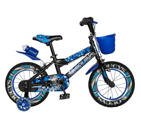 "Bicicleta baieti RICH BABY R14WTA, roata 14"", roti ajutatoare cu LED, 3-5 ani, culoare negru/albastru 0"
